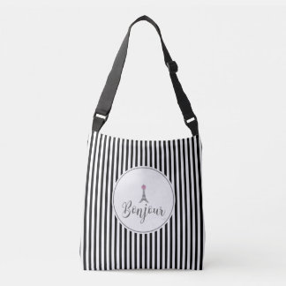 Bonjour Eiffel Tower with pink bow Crossbody Bag