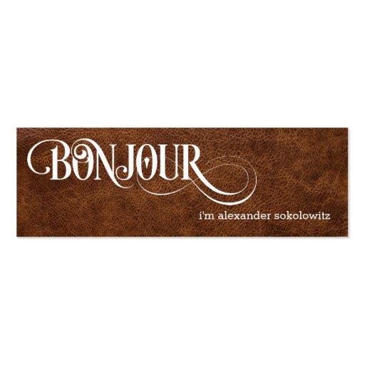 Bonjour! Faux Leather Profile Business Card Business Cards