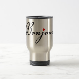 Bonjour, French word art with red heart Travel Mug