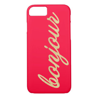 Bonjour in Gold Script   Custom Color iPhone 7 Case