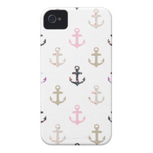 Bonjour marin ! Rétros ancres nautiques Girly vint Étui iPhone 4