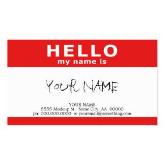 bonjour mon nom est : rouge carte de visite standard
