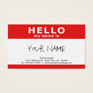 bonjour mon nom est : rouge cartes de visite