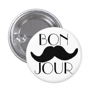 BONJOUR Moustache 1 Inch Round Button