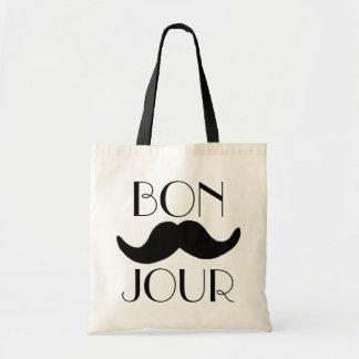 BONJOUR Moustache Tote Bag
