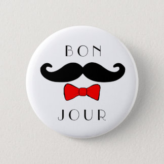 Bonjour Mustache Bowtie Funny Classic 2 Inch Round Button