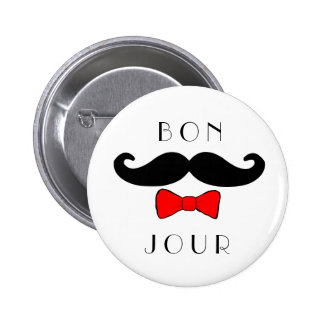 Bonjour Mustache Bowtie Funny Classic 2 Inch Round Button