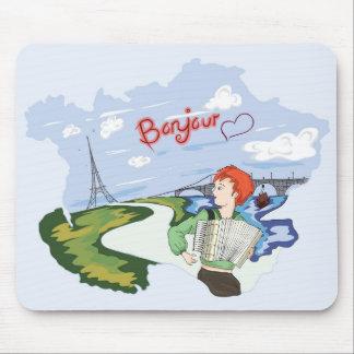 Bonjour Paris Drawing Mouse Pad