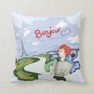 Bonjour Paris Drawing Throw Pillow