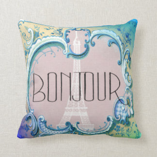 Bonjour Paris Vintage French Eiffel Tower Blues Throw Pillow