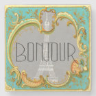 Bonjour Paris Vintage French Eiffel Tower Collage Stone Coaster