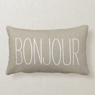 Bonjour Typography Linen Beige Color Toss Pillow