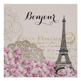 Bonjour Vintage Eiffel Tower Collage Poster