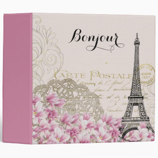 Bonjour Vintage Eiffel Tower Collage with Flowers 3 Ring Binder