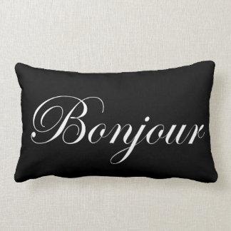 Bonjour White on Black Lumbar Pillow