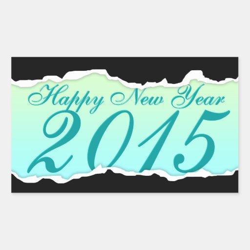 Bonne année 2015 (larme de page) sticker en rectangle