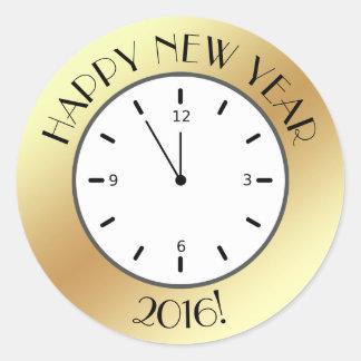 Bonne année de minuit d'horloge de feuille d'or de sticker rond