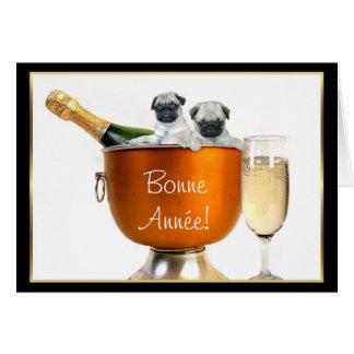 Bonne Année! pugs greeting card