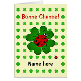 Bonne chance good luck add name ladybird card
