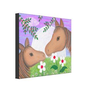 Bonne nuit baiser - les chevaux de poney de la impressions sur toile