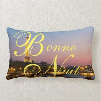 Bonne Nuit Good Night French Paris at Night Pillow