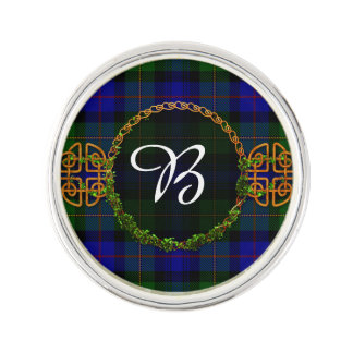 Bonner Tartan And Monogram Lapel Pin