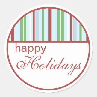 Bonnes fêtes autocollants rayés de Noël