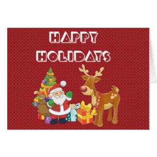 Bonnes fêtes avec Père Noël et le renne Carte De Vœux