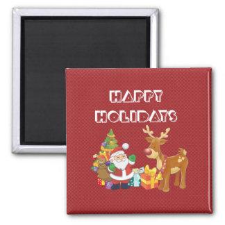 Bonnes fêtes avec Père Noël et le renne Magnet Carré