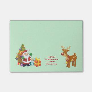Bonnes fêtes avec Père Noël et le renne Note Autocollante