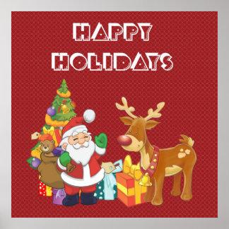 Bonnes fêtes avec Père Noël et le renne Poster