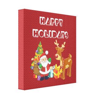 Bonnes fêtes avec Père Noël et le renne Toiles Tendues