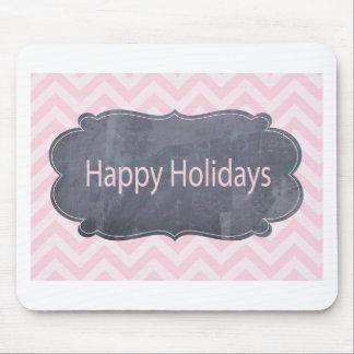 Bonnes fêtes cartes de voeux roses simples tapis de souris
