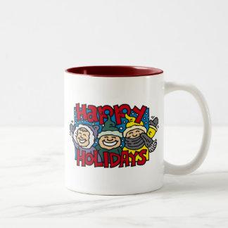 Bonnes fêtes enfants de neige tasse à café