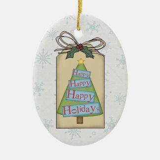 Bonnes fêtes ornement d'étiquette de cadeau