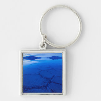 Bonneville Salt Flats In Winter - Utah Silver-Colored Square Keychain