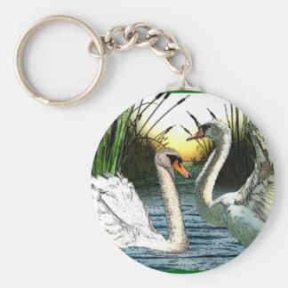 Bonny Swans Sunrise Basic Round Button Keychain