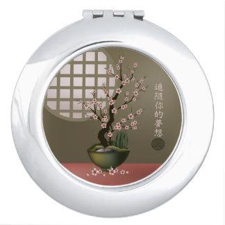 "Bonsai blossom tree ""Fallow your dreams"" Travel Mirror"