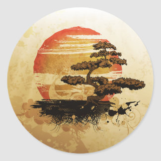 Bonsai in the Sun Round Sticker