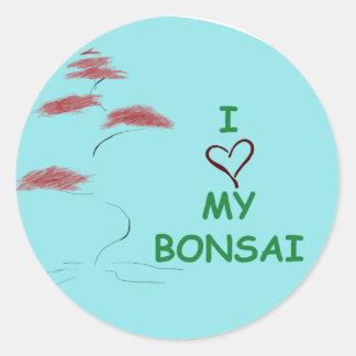 Bonsai love classic round sticker