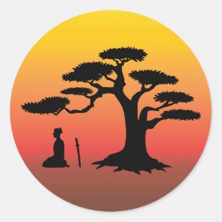 Bonsai Tree at Sunset - Sticker