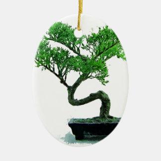 bonsai-tree Painting Ceramic Oval Ornament
