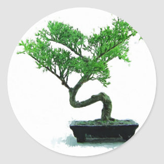 bonsai-tree Painting Round Sticker