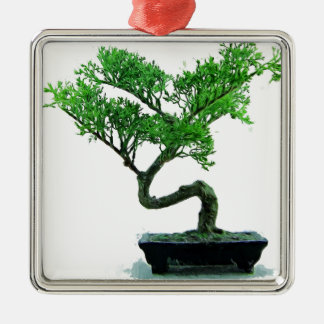 bonsai-tree Painting Silver-Colored Square Ornament