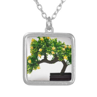 Bonsai tree silver plated necklace