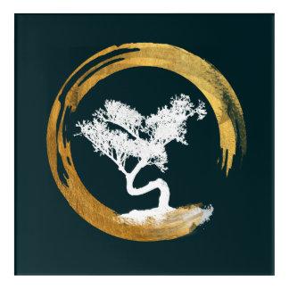Bonsai Tree. Zen Enso Circl. Feng Shui Calligraphy Acrylic Print
