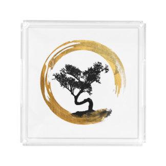 Bonsai Tree. Zen Enso Circl. Feng Shui Calligraphy Acrylic Tray