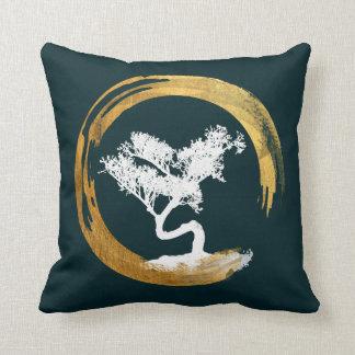 Bonsai Tree. Zen Enso Circl. Feng Shui Calligraphy Throw Pillow