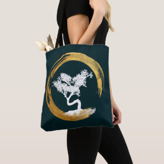 Bonsai Tree. Zen Enso Circl. Feng Shui Calligraphy Tote Bag