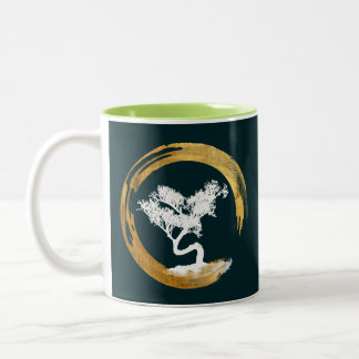 Bonsai Tree. Zen Enso Circl. Feng Shui Calligraphy Two-Tone Coffee Mug